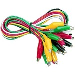 Multicoloured multimeter connection leads with insulated alligator clips, pack of 10 with two leads each in the colours red, black, green, yellow, white - Length: 45 cm