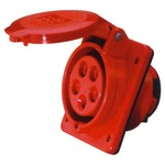 A 400 V, red, high current 32 A, angled outlet 5 contact panel mount.