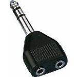 6.3 mm stereo plug to 2 x 3.5 mm stereo inline jack socket adaptor